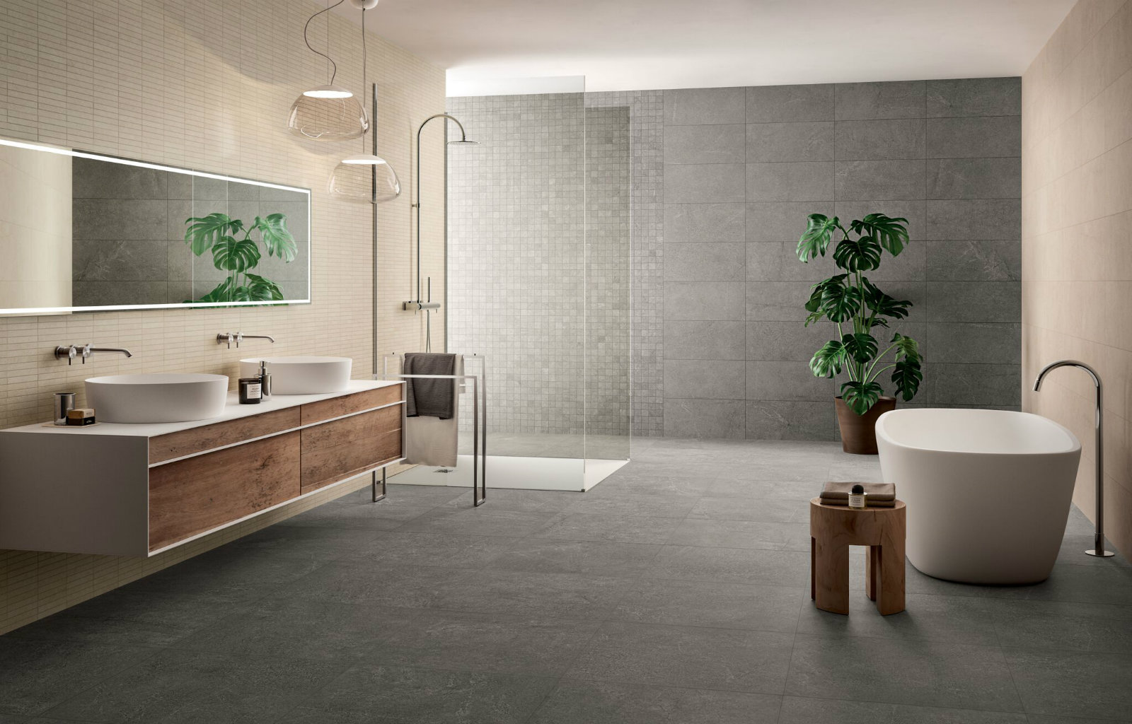 Floor and wall bathroom tiles